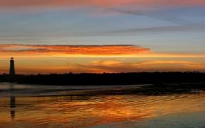Wallpaper Sunset, Lighthouse, Surf