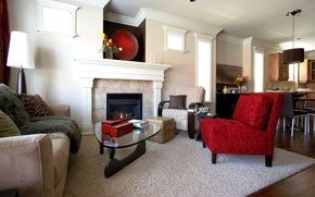 Picture red, design, style, room, sofa, carpet, furniture, interior, chair, fireplace