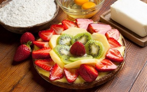 Picture oil, eggs, kiwi, strawberry, plate, pineapple, slices, juicy dessert, flour