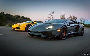 Picture Road, Lamborghini, Grey, Yellow, Car, Speed, 2011, Supercar, Grey, Yellow, Lamborghini, Aventador, Aventador, Road, Supercar, …