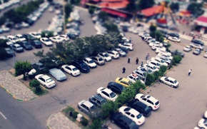Picture car, people, tilt-shift, iran, namakabrood, busy, miniator