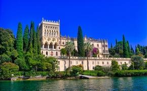 Wallpaper trees, lake, Villa, the building, Italy, Italy, Lombardy, Lombardy, Lake Garda, Villa Borghese Cavazza, Garda, ...