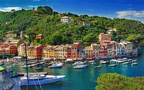 Picture sea, trees, landscape, nature, the city, rocks, coast, building, home, boats, Italy, Italy, province, Portofino, ...