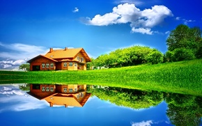 Picture field, summer, the sky, grass, water, clouds, trees, nature, lake, house, reflection, tree, meadow, house, ...
