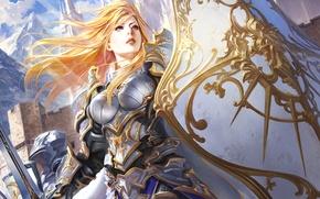 Picture shield, armor, sword, Girl