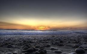 Picture sea, wave, shore, pebbles, stones, sunset