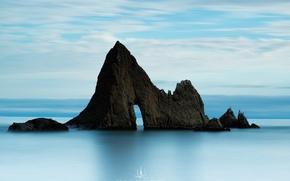 Picture beach, clouds, rock, the ocean, USA, photographer, California, Kenji Yamamura, Martins Beach