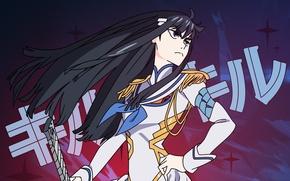 Picture look, long hair, arm, jacket, kill la kill, epaulettes, satsuki kiryu I, smash slash