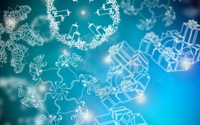 Picture winter, snowflakes, new year, Christmas, candles, gifts, new year, deer, bumps, merry christmas