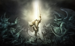 Picture diablo 3, darkness, Crusader, light, armor