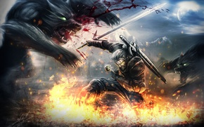 Wallpaper wolves, Herald, attack, Witcher 3: Wild Hunt, the Witcher