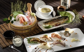 Picture fish, soup, sushi, seafood, cuts
