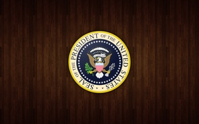 Picture logo, wood, shield united states president