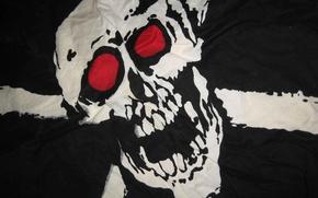 Wallpaper black, Skull, flag, sake