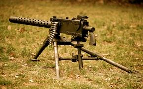 """Picture grass, weapons, machine gun, Browning, machine gun, tape cartridges, """"Browning"""", M1919"""