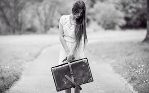 Picture girl, mood, suitcase, Daniela