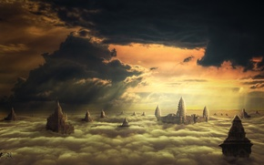 Picture clouds, the city, fantasy, by hankep