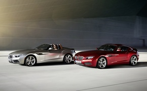 Picture red, background, Roadster, silver, BMW, BMW, Coupe, the front, Coupe, Zagato, Zagato, Roadster