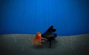 Wallpaper blue, figure, the bottom, piano, Octopus