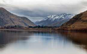 Picture the sky, trees, mountains, clouds, lake