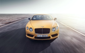 Picture Bentley, Continental, Car, Speed, Front, Yellow, Road