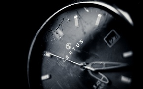Picture macro, wallpapers, glass, watch, background, black, Wallpaper, arrows, white, cracked, time, photo