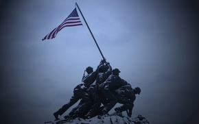 Wallpaper flag, America, soldiers, monument