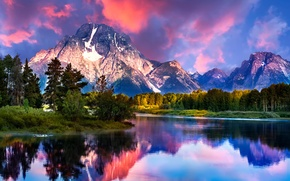 Picture clouds, mountains, river, Wyoming