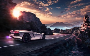 Picture Lamborghini, Landscape, Sunset, LP700-4, Aventador, Pirelli, Supercar, Edition, Rear