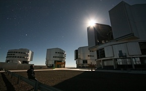 Picture the sky, stars, night, the moon, Observatory, Chile, light of the moon, Paranal Observatory
