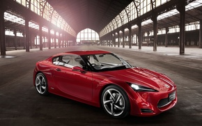 Picture red, concept, hangar, FT-86, Toyota