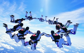 Picture the sky, jump, People, parachute