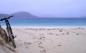Picture sea, beach, bike, morning, halt, mountain bike