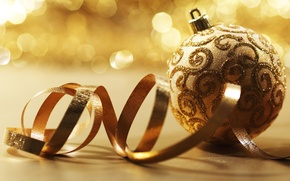 Wallpaper holiday, tape, serpentine, Golden, glare, Christmas toy, curls, decoration, ball, braid, pattern, Shine, fabric