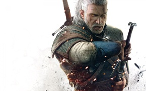 Picture Sword, Eyes, Geralt, Medallion, the witcher 3 wild hunt, The Witcher 3 wild hunt