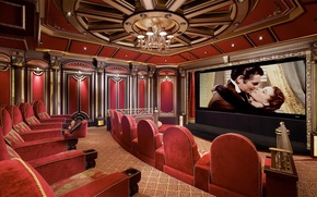 Wallpaper interior, chairs, cinema, screen, home, chandelier.