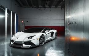 Picture Lamborghini, White, LP700-4, Aventador, Supercar, Wheels, ADV.1, PML 2