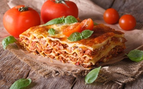 Wallpaper dish, tomatoes, greens, Lasagna, Lasagna