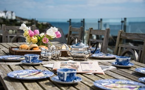 Picture flowers, tea, Breakfast, Newspapers, buns, terrace, Cornwall, lunch, Penpol House, Mevagissey harbour