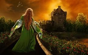 Picture girl, night, castle, garden, running