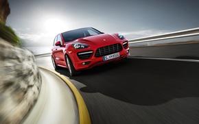 Picture road, red, speed, jeep, Porsche Cayenne