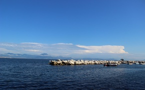 Picture sea, the sky, stones, stay, Italy, Naples