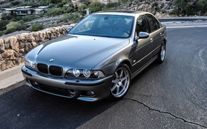 Picture mountains, BMW, home, road, 2002, E39, machine, hills, BMW