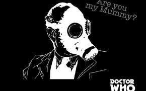 Picture people, head, gas mask, black and white, Doctor Who, Doctor Who