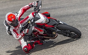 Picture speed, motorcycle, Ducati, motorcyclist, 2015, Hypermotard