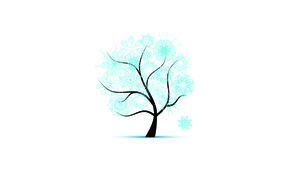 Wallpaper winter, snowflakes, tree, patterns