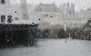 Picture glass, drops, the city, rain
