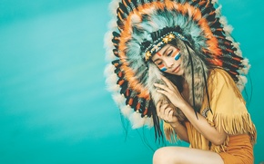 Wallpaper style, feathers, background, clothing, headdress, face, paint, girl