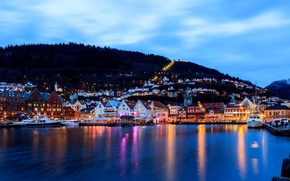 Picture sea, the city, lights, building, home, boats, the evening, pier, Norway, harbour, Norway, Bergen, Mountains