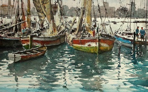 Wallpaper picture, yachts, boats, watercolor, sail, harbour, seascape, Maximilian DAmico